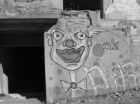 Scary clown graffiti
